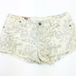1st Kiss White Animal Print Cut Off Jean Shorts 13
